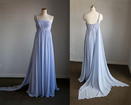 Rosyfancy Empire One Shoulder Braided Strap Chiffon Wedding Bridesmaid D... - $175.00