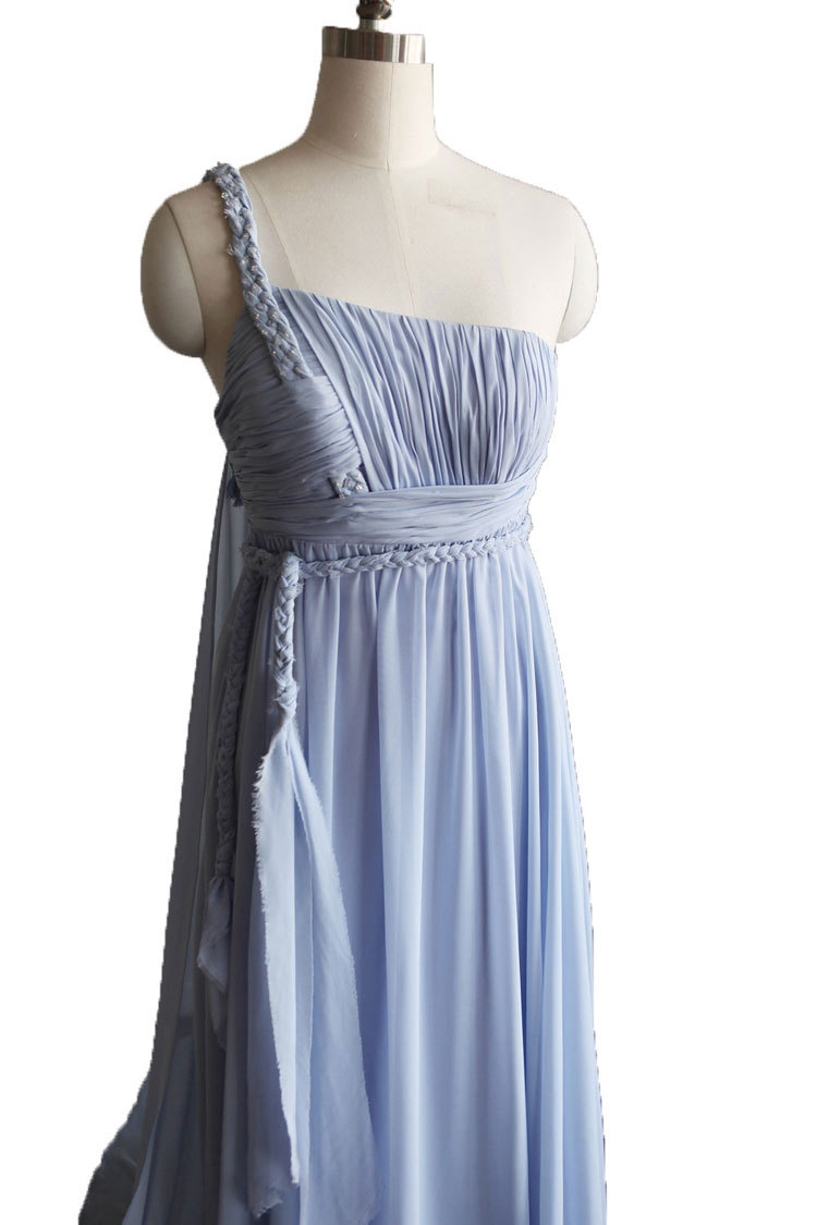 Rosyfancy Empire One Shoulder Braided Strap Chiffon Wedding Bridesmaid Dress
