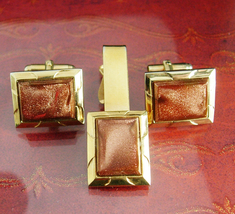 Vintage Wedding Cufflink Set Exquisite Hayward Tie clip Red Goldstone Vi... - $110.00
