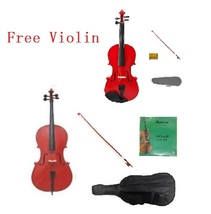 4/4 Red Cello,Red Bow,Bag,Strings+4/4 Red Violin Set,Save for 2 Students - $399.99