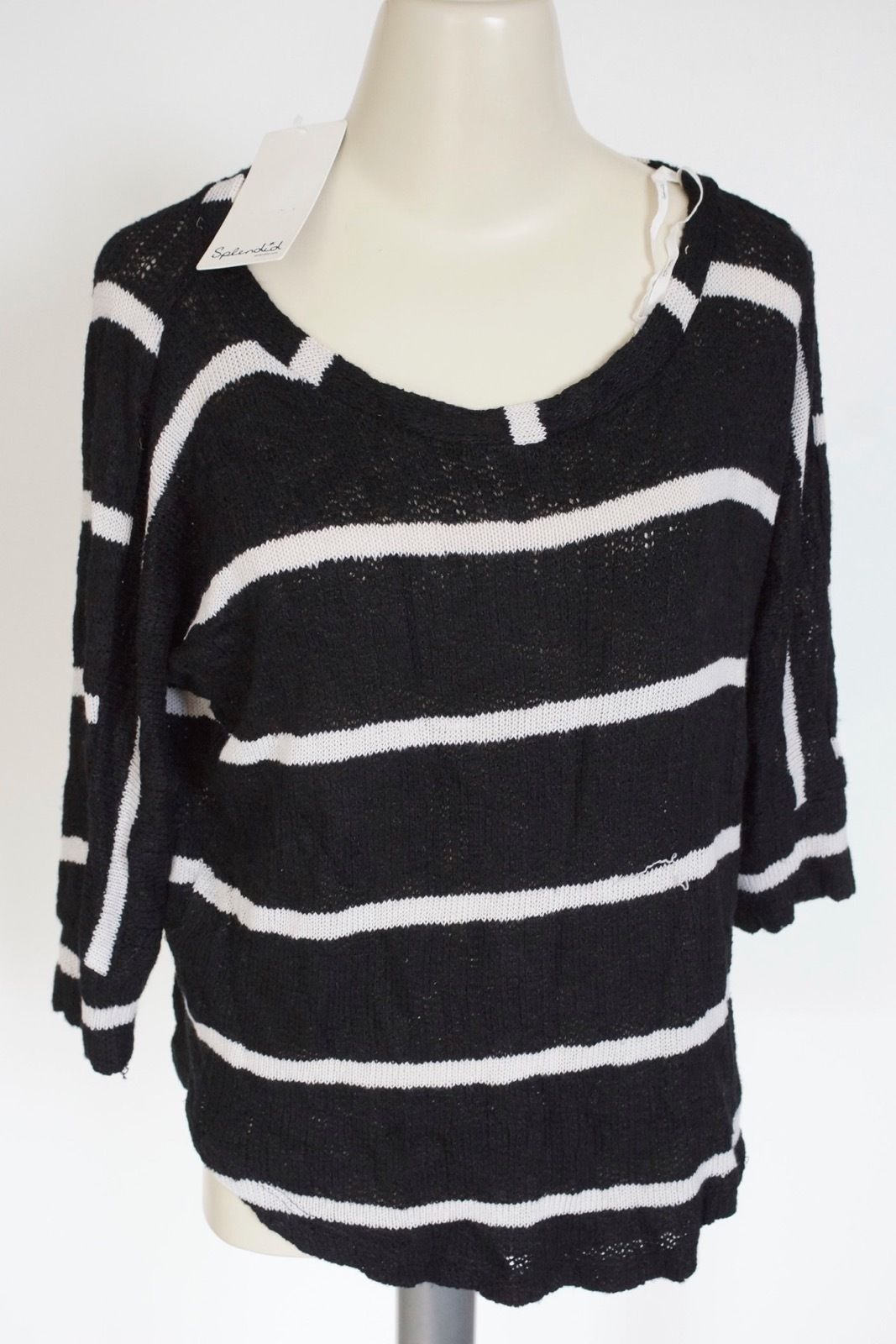SPLENDID | Women's Boat Neck Striped Dolman Top sz S $85 black -pulls STAI87497N