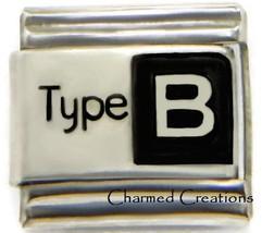 Type B Blood Medical Alert 9mm Italian Charm Modular Link For Starter Br... - $7.87