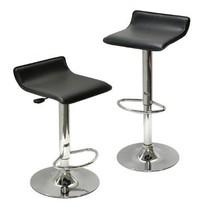 Bar Stools Chairs Adjustable Lift Swivel Set Of 2 Black Chrome Backless ... - £76.65 GBP
