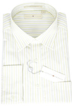 15 34/35 NWT Joseph Abboud White Green Stripe Button Front Luxury Dress ... - $97.92 CAD