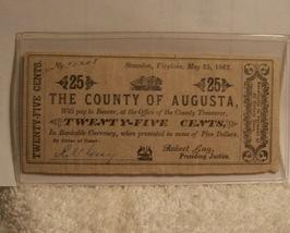 Confederate County Of Augusta Virginia 25c note 1862 - $21.25