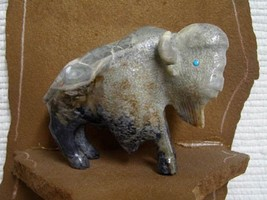 """Zuni Carved 3.75"""" Long Picasso Marble Buffalo Fetish Sculpture by Clive ... - $275.00"""