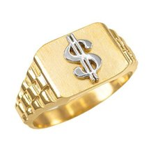 10k Gold Dollar Sign Cash Money Men's Hip-Hop Ring (size 7.75) - $219.99
