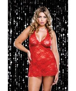 iCollection Stretch lace Princess cut halter Chemise and thong Style 763... - $28.95
