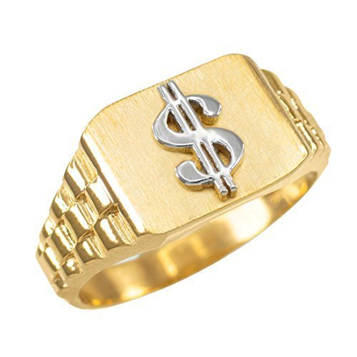 10k Gold Dollar Sign Cash Money Men's Hip-Hop Ring (size 14)