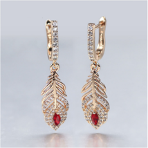 585 Rose Gold Long Dangle Earrings Women Elegant Feather Flower Red Stone - $18.99