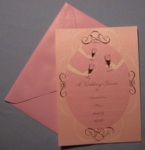 Papyrus Wedding Shower 8 Pink Invitation note cards elegant lined envelo... - $17.77