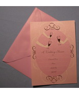 Papyrus Wedding Shower 8 Pink Invitation note cards elegant lined envelo... - $19.77