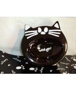 Cat Food glass water Bowl Dish plastic Mat pet gift black white boxed H7 - $19.77