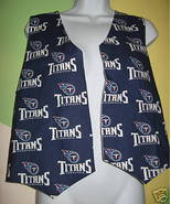 Tennessee Titans football logo Vest M L blue cotton Hand Made USA handcr... - $27.77