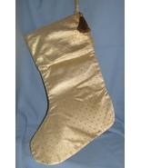 Gold fabric Christmas Stocking set 2 large clas... - $11.77