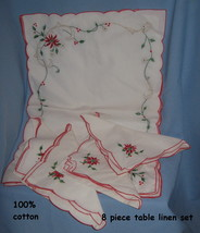White Cotton Red Holly embroidered Christmas set 4 Place Mats 4 Napkins  H8 - $29.77