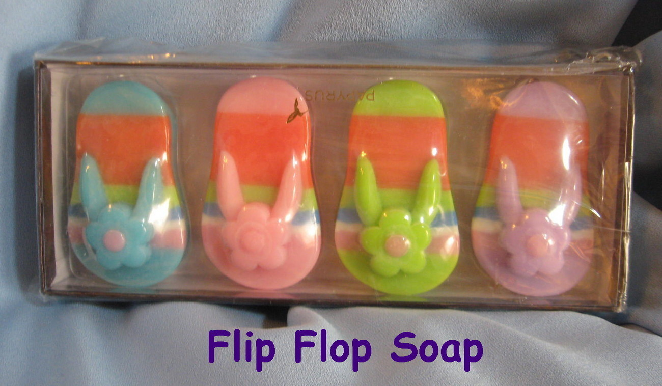 Papyrus Hand Soap box set 4 flip flop thong beach shoes colorful guest gift H2