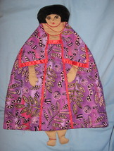 African Lady Pajama bed Pillow Doll handcrafted USA handmade purple fabr... - $47.77