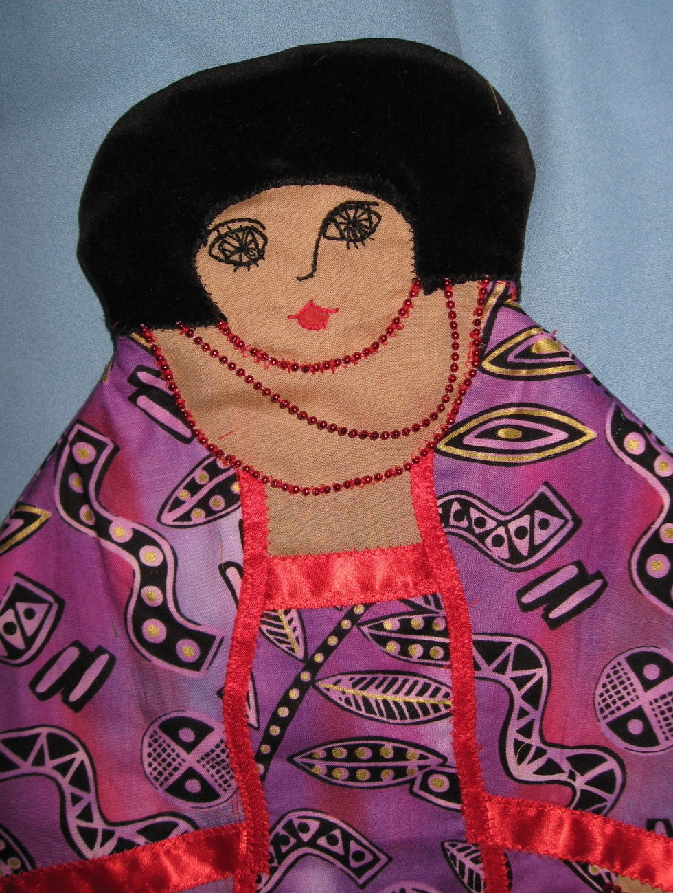 African Lady Pajama bed Pillow Doll handcrafted USA handmade purple fabric H5