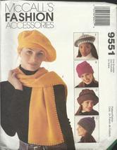 McCall's 9551 Pattern Hats Scarf Tote Bag caps headgear blanket  DIY fleece - $5.77
