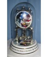 Patriotic Glass Dome Mantle shelf Clock American flag eagle  Armed Servi... - $67.77