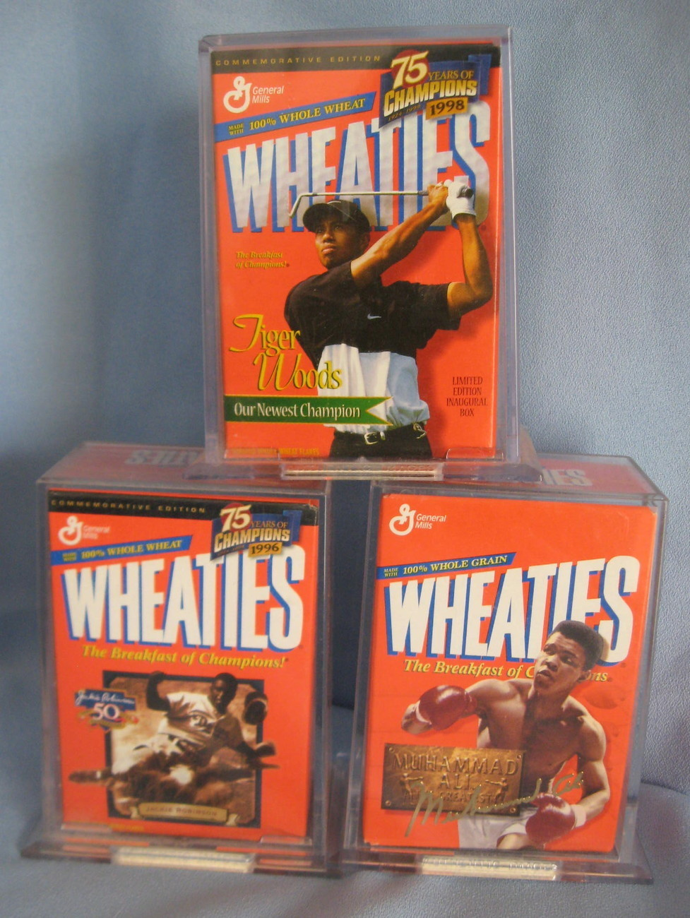 Wheaties Jackie Robinson Muhammad Ali Tiger Woods  3 mini  Cereal Box sealed H8