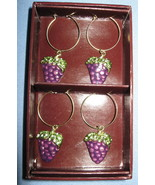 Papyrus Wine Glass stem Charms ID tags set 4 cluster purple grapes  - $9.77