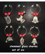 Wine Glass stem Charms metal Christmas holiday tags set 6 bell hat tree ... - $12.77