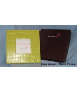 Papyrus Croc Leather Photo Frame desk picture 3 X 3 Lime Green gift boxe... - $19.77