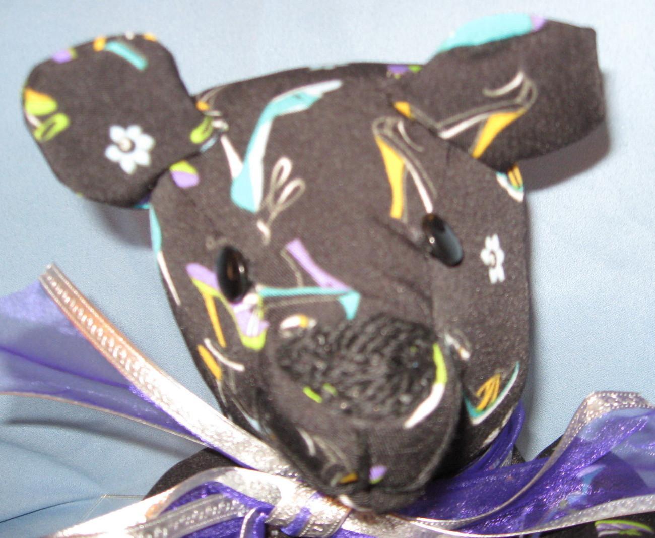 Black teddy  Bear handcrafted fabric Shoes Purses OOAK  handmade USA  ps1