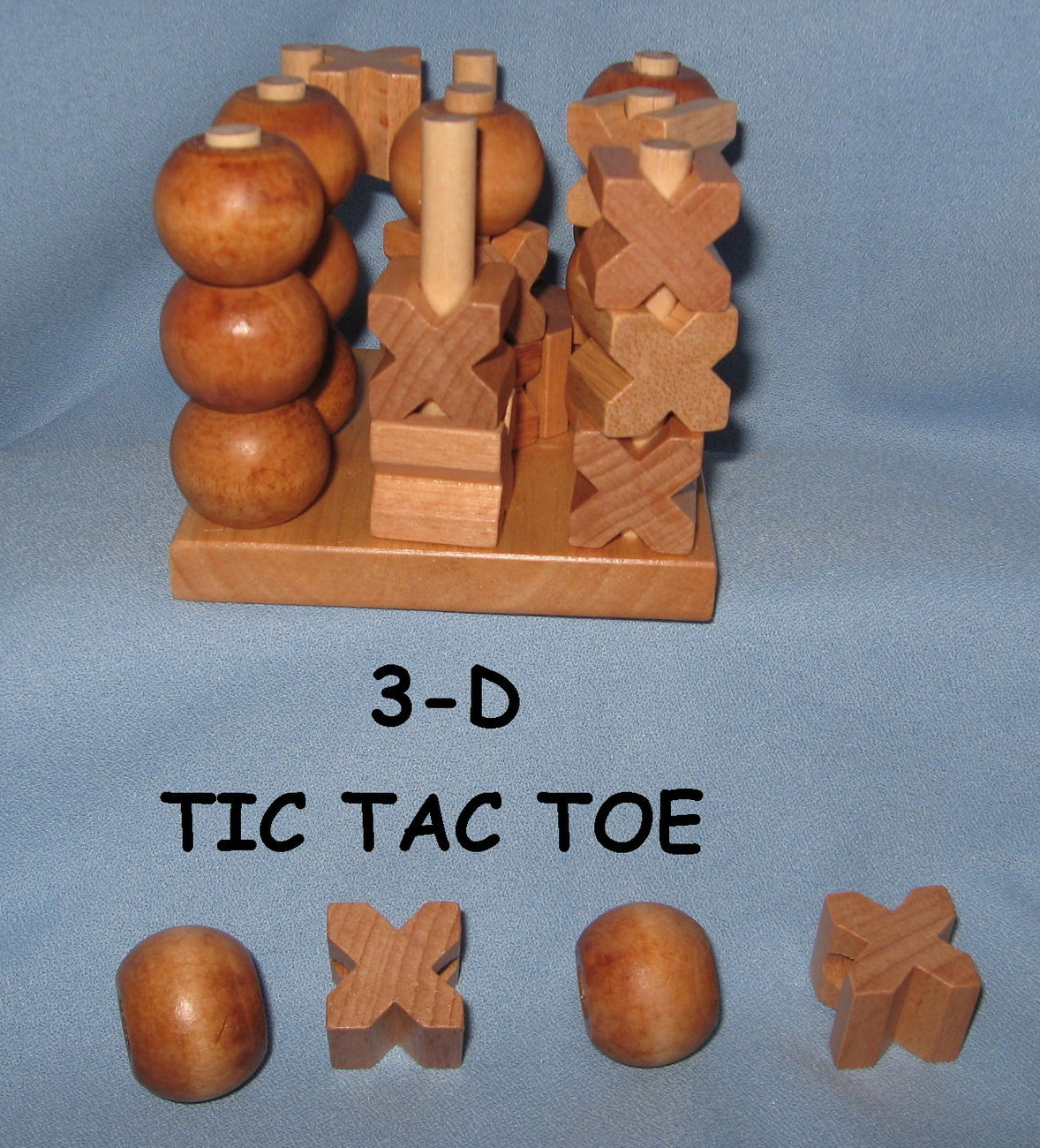 3D dimentional Tic Tac Toe Game child adult  wooden stack party toy wood H4