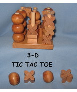 3D dimentional Tic Tac Toe Game child adult  wooden stack party toy wood H4 - $16.77