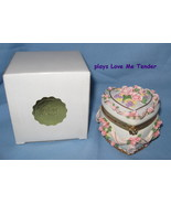 Heritage House Flowers Trinket Box pink white music Love Me Tender H6A   - $21.77