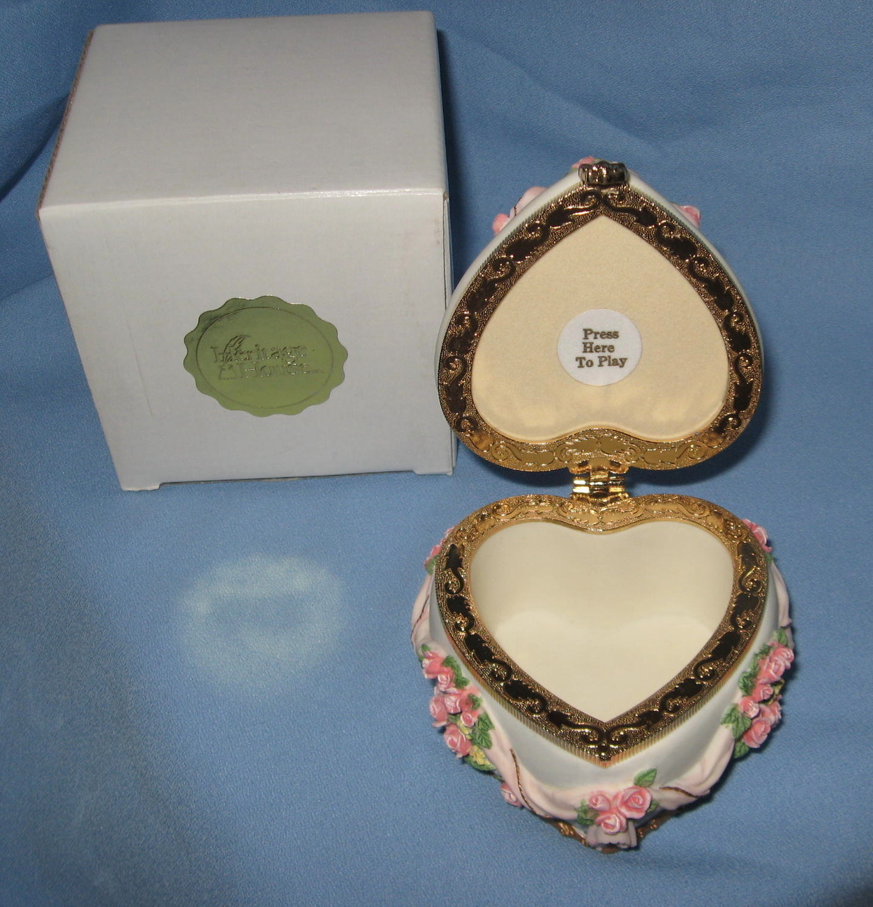 Heritage House Flowers Trinket Box pink white music Love Me Tender H6A