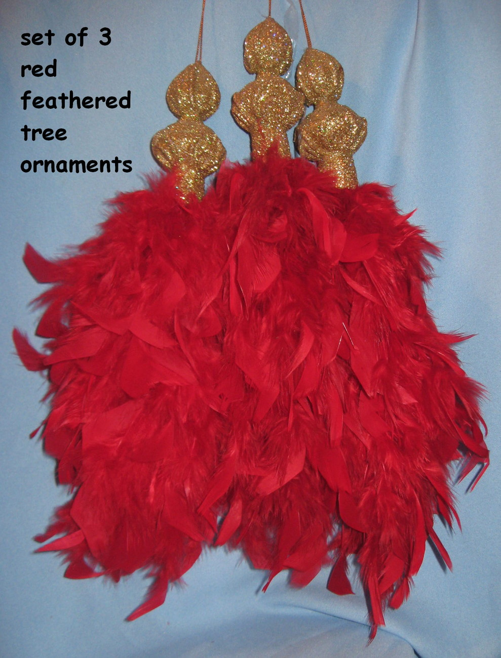 Feather holiday Tree Ornaments set 3 Christmas red gold elegant unique H20