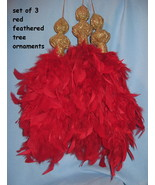 Feather holiday Tree Ornaments set 3 Christmas red gold elegant unique H20 - $19.77