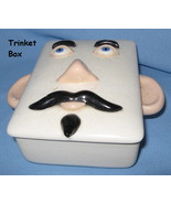 Holland Mold Man Face ceramic Trinket Box vintage white treasure whimsic... - $27.77