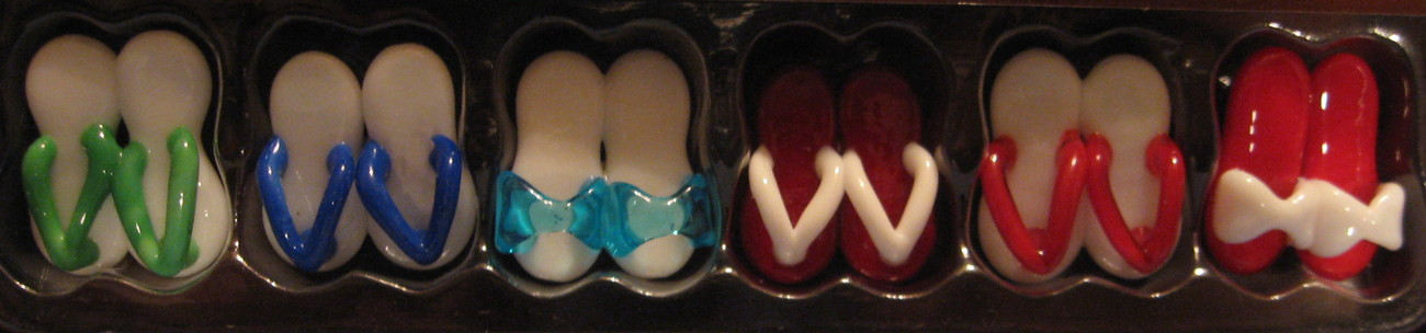 Papyrus Glass Magnets set 6 refrigerator flip flop thong beach shoes bright H8