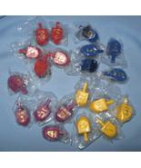 Chanukah Hanukkah Holiday 20 wooden mini Dreidel red yellow purple blue H8 - $12.77