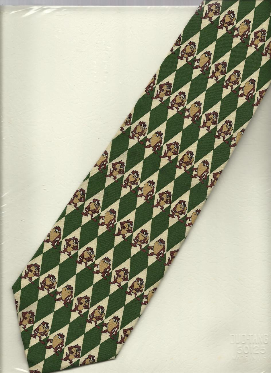 Warner Bros Taz novelty Neck Tie necktie Tasmanian Devil green beige silk N1