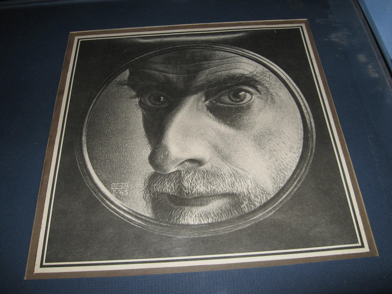 M C Escher 1943 framed artist self portrait matted rare Maurits Cornelis