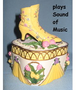 Heritage House yellow Shoe Trinket Box musical Sound of Music Victorian ... - $21.77