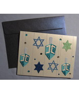 Papyrus Happy Chanukah 6 greeting Cards Menorah Dreidal Star sequins gli... - $24.77