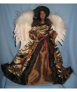 Angel Christmas Tree Topper mantle decor African American velvet faux fu... - $39.77