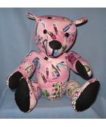 Stuffed toy Bear Pink fabric Handbag Makeup Dress handcrafted OOAK handm... - $77.77