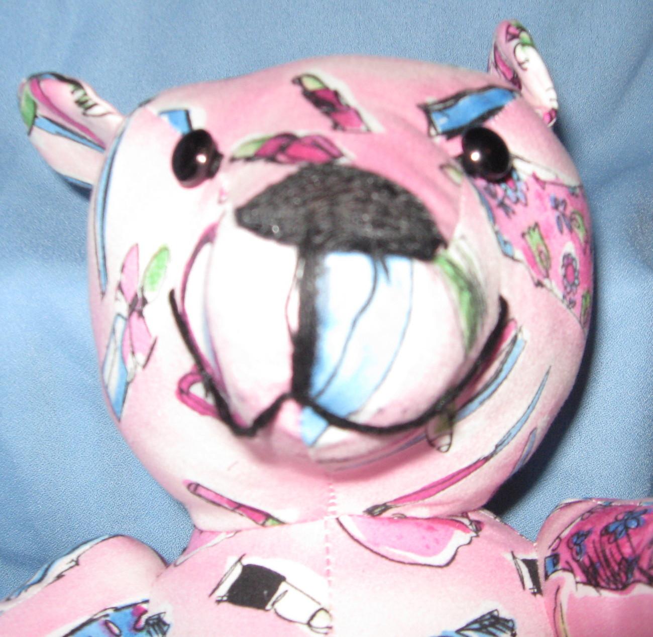 Stuffed toy Bear Pink fabric Handbag Makeup Dress handcrafted OOAK handmade PB1