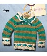 Papyrus Sweater Tree Ornaments green stripe knit holiday set 5 mini hang... - $17.77