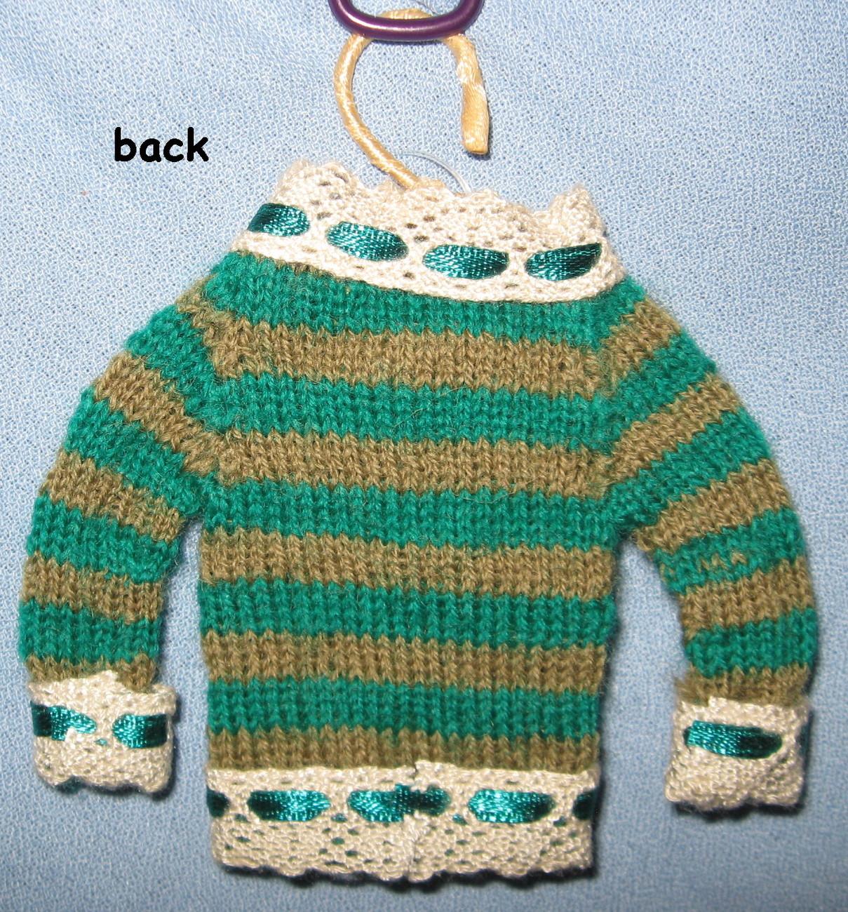 Papyrus Sweater Tree Ornaments green stripe knit holiday set 5 mini hanger decor