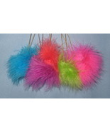 Marcel Schurman Tree Ornaments set 5 fuzzy furry balls bright neon whims... - $14.77