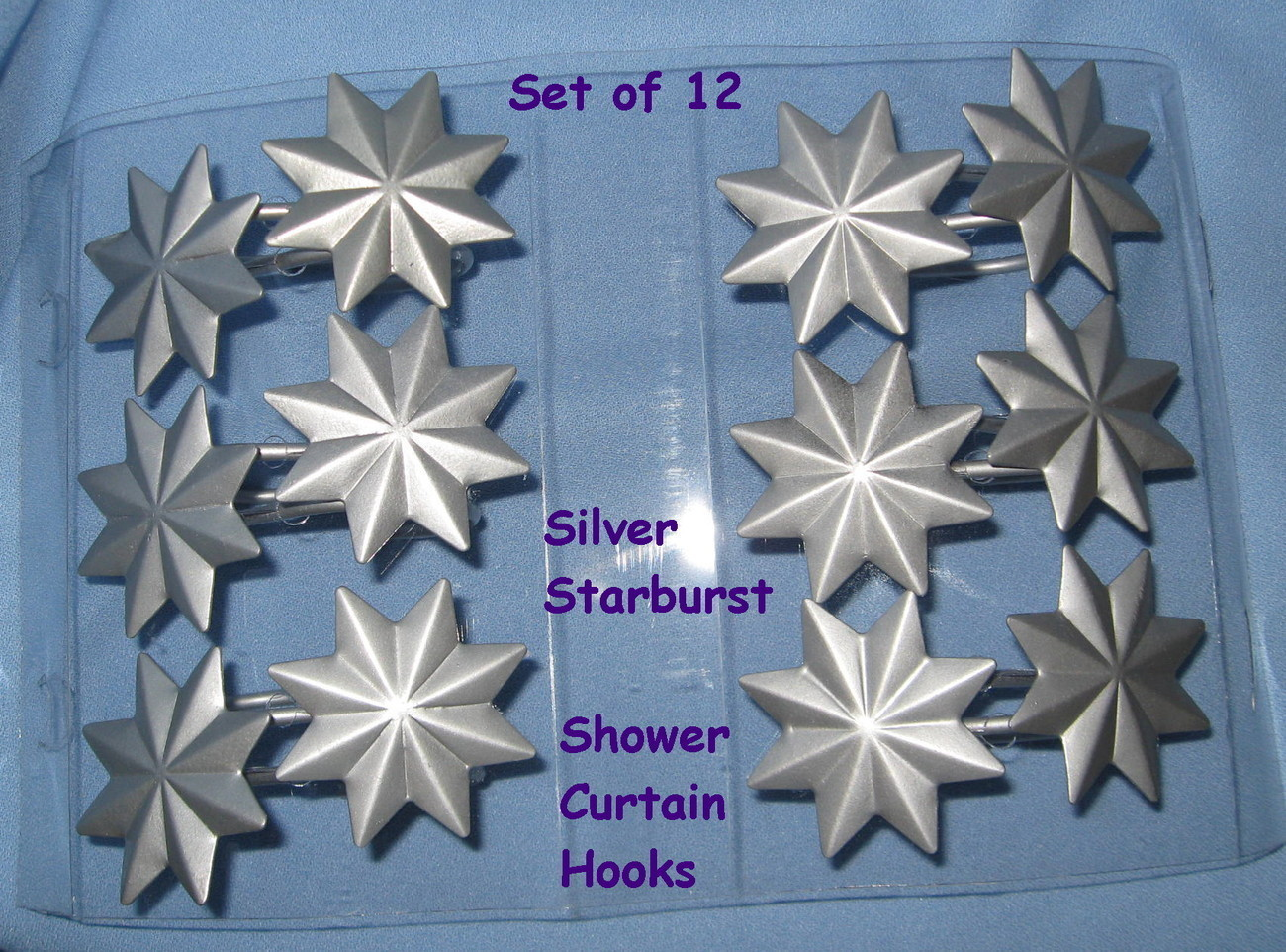 Shower curtain hooks set 12 matte silver metal starburst star